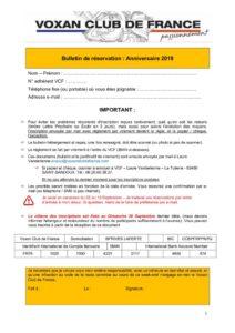 thumbnail of Bulletin de réservation – Anniversaire VCF 2019