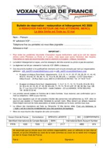 thumbnail of Bulletin de réservation – AG VCF 2020